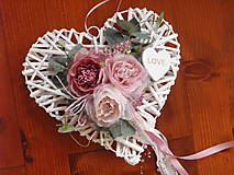 Dekorácie - Vintage srdce so srdcom LOVE 30cm - 9683380_