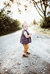 Detská ľanová košieľka na gombičky bez rukávov