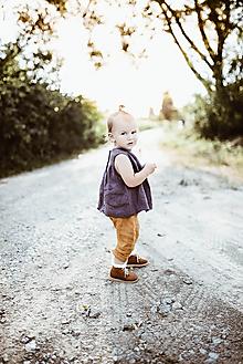 Detské oblečenie - Detská ľanová košieľka na gombičky bez rukávov (Šedá) - 9687562_