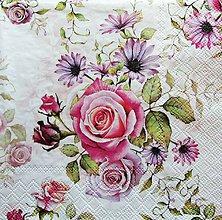 Papier - S1237 - Servítky - ruža, ružička, kvet, kvetinka, flowers, lístky, kytica - 9687365_