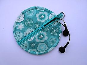 Taštičky - Tyrkysový obal na slúchadlá - 9688886_