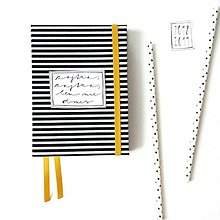 Papiernictvo - DIÁR 2019 čierno-žltý pásikáč (ľubovoľný nápis) - 9685861_