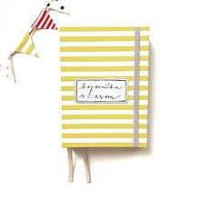 Papiernictvo - DIÁR 2019 žlto-sivý pásikáč (ľubovoľný nápis) - 9685863_