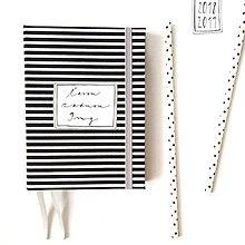 Papiernictvo - DIÁR 2019 čierno-sivý pásikáč (ľubovoľný nápis) - 9685868_
