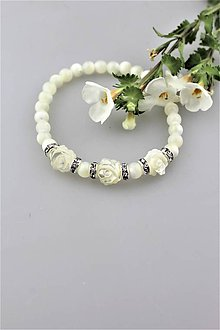 Náramky - perleť kvietky náramok svadobný - 9686304_