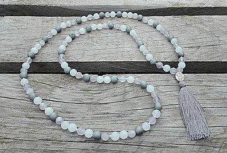 Náhrdelníky - Japa Mala náhrdelník - ametyst, achát, jadeit - 9688617_