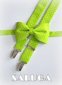 Doplnky - Pánsky motýlik a traky - hráškovo zelený na biele bodky - 9687569_