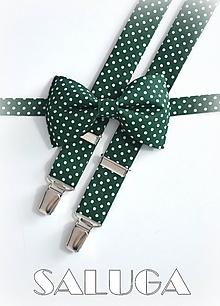 Doplnky - Pánsky motýlik a traky -tmavo zelený na biele bodky - 9687572_