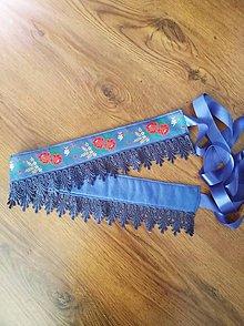 Opasky - Modry folklorny opasok s cipkou - 9686908_