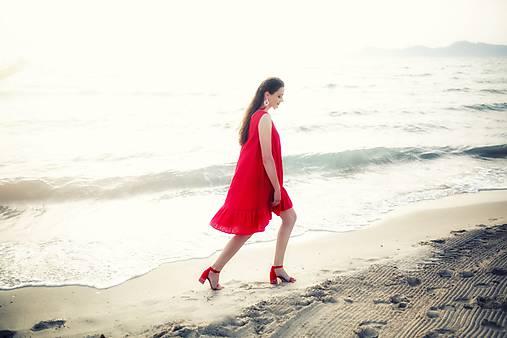 Šaty - Červené ľanové šaty Slavianka - 9688940_
