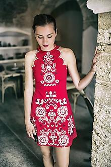Šaty - Červené vyšívané Slavianka - 9688881_