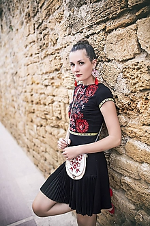Šaty - Čierne plisované šaty Slavianka - 9689086_