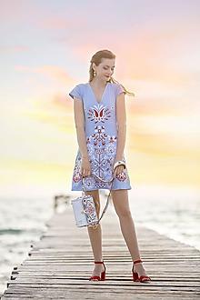 Šaty - Modré vyšívané šaty Slavianka - 9689255_