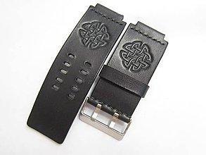 45b9d746a Náramky - 35mm čierny kožený remienok na hodinky - 9688909_