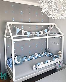 Detské doplnky - Modrý šedák, zapletaný mantinel, rôzne farby a dĺžky - 9689322_