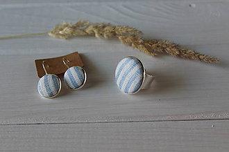 Sady šperkov - Set - ľanové náušnice+prsteň (Modrý prúžok) - 9687173_