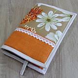Úžitkový textil - Pre knihomoľov - Oranžové kvety XL - 9687464_