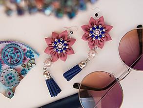 Náušnice - Náušnice: Kvety so strapcom (Ružovo-modré) - 9689260_