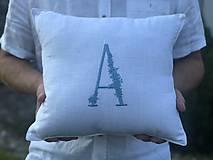 Úžitkový textil - Ľanová obliečka na vankúš s monogramom - 9687248_