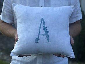 Úžitkový textil - Ľanová obliečka na vankúš s monogramom (40x40 - Modrá) - 9687248_