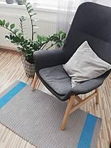 Úžitkový textil - Háčkovaný koberec 100% bavlna, šeda a modrá - 9687316_