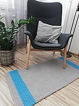 Úžitkový textil - Háčkovaný koberec 100% bavlna, šeda a modrá - 9687320_