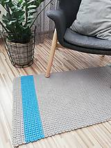 Úžitkový textil - Háčkovaný koberec 100% bavlna, šeda a modrá - 9687324_
