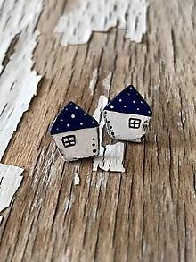 Náušnice - MiNi domčeky s bodkami (Modrá) - 9686665_