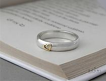 Prstene - 14k zlaté srdce na striebornom prsteni - 9691295_