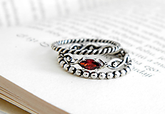 Prstene - 925 sada strieborných prsteňov s granátom - 9691336_
