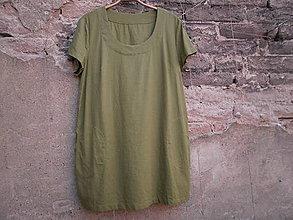 Tuniky - Lněná tunika - olivově zelené - 9690097_