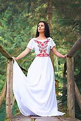 Šaty - Svadobné šaty s červenou výšivkou - 9689888_