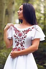 Šaty - Svadobné šaty s červenou výšivkou - 9689890_