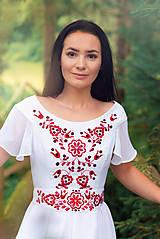 Šaty - Svadobné šaty s červenou výšivkou - 9689892_