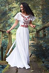 Šaty - Svadobné šaty s červenou výšivkou - 9689893_