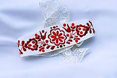 Šaty - Svadobné šaty s červenou výšivkou - 9689894_
