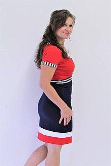 Tehotenské/Na dojčenie - 3v1 dojčiace púzdové šaty NÁMOŘNÍ, veľ. XS - M - 9689767_