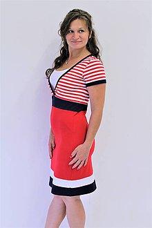 Tehotenské/Na dojčenie - 3v1 dojčiace púzdrové šaty NÁMOŘNÍ, veľ. XS - M - 9689785_