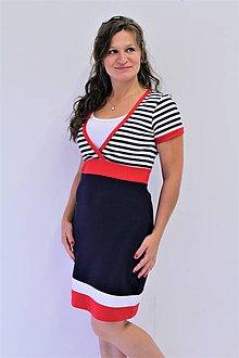 Tehotenské/Na dojčenie - 3v1 dojčiace púzdrové šaty NÁMOŘNÍ, veľ. XS - M - 9689800_