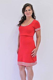 Tehotenské/Na dojčenie - 3v1 dojčiace púzdrové šaty NÁMOŘNÍ, veľ. XS - M - 9689812_