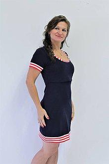 Tehotenské/Na dojčenie - 3v1 dojčiace púzdrové šaty NÁMOŘNÍ, veľ. XS - M - 9689827_