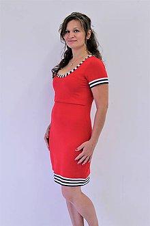 Tehotenské/Na dojčenie - 3v1 dojčiace púzdrové šaty NÁMOŘNÍ, veľ. L - XXL - 9689836_