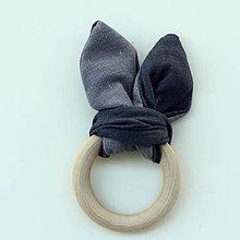 Textil - Ľanové hryzátko šuchotavé Steel grey - 9691587_