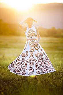 Šaty - Biele potlačené dlhé šaty Slavianka - 9690876_