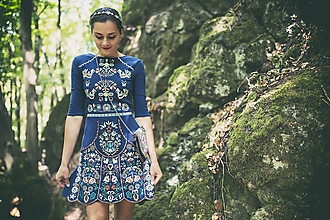 Šaty - Modré vyšívané šaty Slavianka - 9692310_