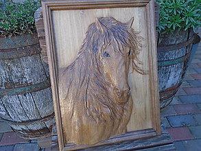 Obrazy - drevorezba - Kôň (Béžová) - 9692178_