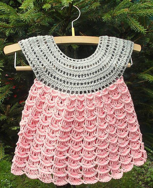 3daa0237af34 Letné šaty ružovo-sivé   Knitlady - SAShE.sk - Handmade Detské oblečenie