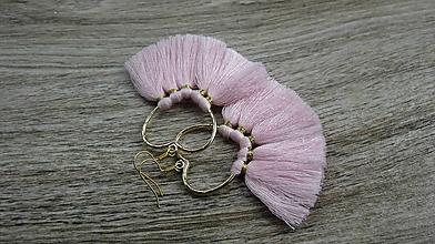 Náušnice - Veľké srdcové náušnice so strapcami (svetlo ružové č. 2270) - 9690215_