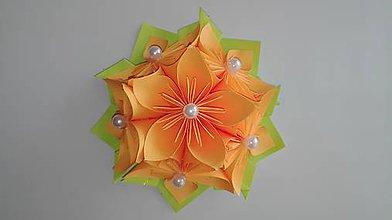 Drobnosti - Kvietok - magnetka (Oranžová) - 9690399_