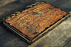 Papiernictvo - Staré drevo,vintage diár 2020/2021 pánsky,pre muža i ženu vymeniteľný obsah - 9690063_